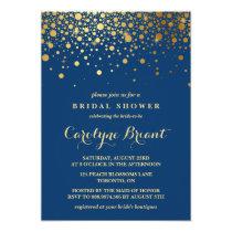Faux Gold Foil Confetti | Navy Bridal Shower Invitation