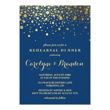 misstallulah Faux Gold Foil Confetti | Navy Rehearsal Dinner Card