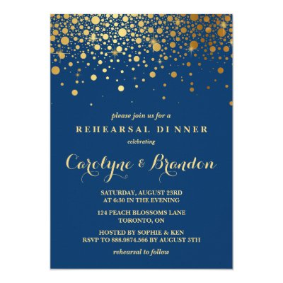 Faux gold foil confetti black rehearsal dinner card zazzle stopboris Image collections