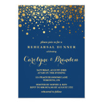 Faux Gold Foil Confetti | Navy Rehearsal Dinner Invitation