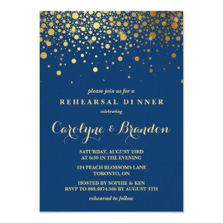 Faux Gold Foil Confetti | Navy Rehearsal Dinner Invitation