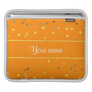 Faux Gold Foil Confetti Orange Sleeve For iPads