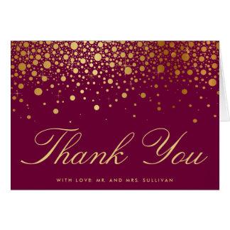 Faux Gold Foil Confetti Poppy Thank You Card