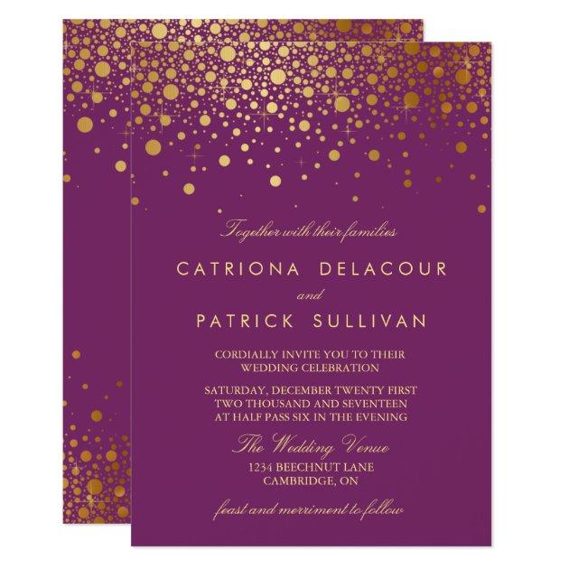 Faux Gold Foil Confetti Purple Wedding Invitation   Zazzle.com