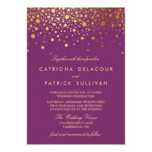 Faux Gold Foil Confetti Purple Wedding Invitation 5