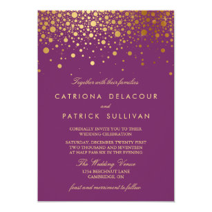 purple wedding invitations zazzle