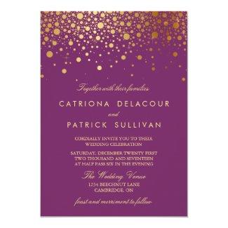 Faux Gold Foil Confetti Purple Wedding Invitation