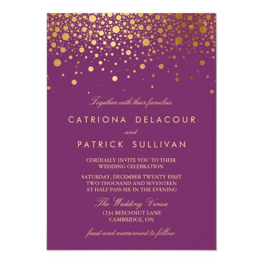 Faux Gold Foil Confetti Purple Wedding Invitation – Gold and Purple Wedding Invitations