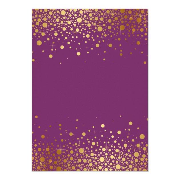 Faux Gold Foil Confetti Purple Wedding Invitation | Zazzle.com