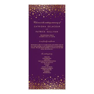Faux Gold Foil Confetti Purple Wedding Program 4x9.25 Paper Invitation Card