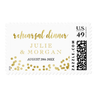 Faux Gold Foil Confetti Rehearsal Dinner Postage