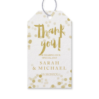 Faux Gold Foil Confetti Thank You Gift Tags