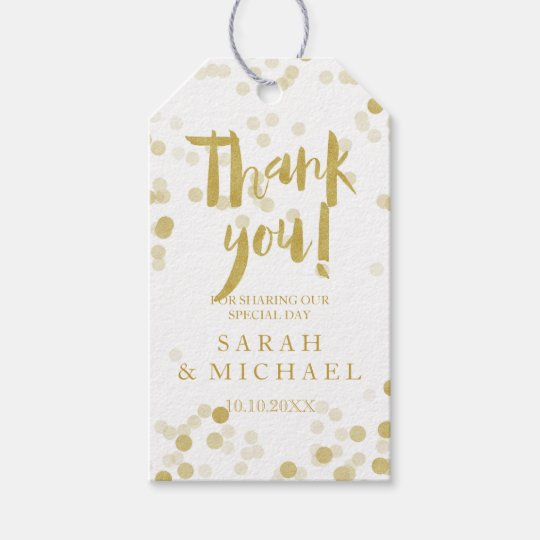 faux gold foil confetti thank you gift tags zazzle com