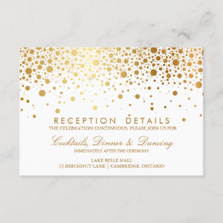 Faux Gold Foil Confetti Wedding Reception Card