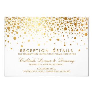 Faux Gold Foil Confetti Wedding Reception Card