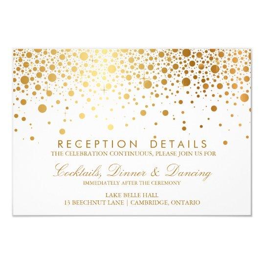 Faux Gold Foil Confetti Wedding Reception Card | Zazzle