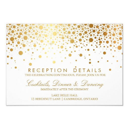 Faux Gold Foil Confetti Wedding Reception Card 3 5 Quot X 5