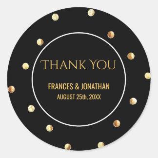 Faux Gold Foil Confetti   Wedding Thank You Favor Classic Round Sticker