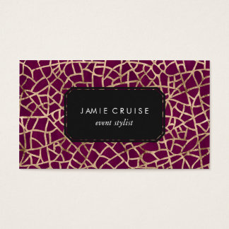 Faux Gold Foil Crackle and Purple Professional Business Card