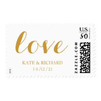 Faux Gold Foil Custom Wedding Love Postage