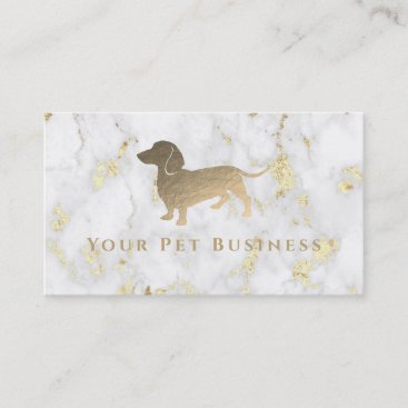 faux gold foil dachshund on marble business card
