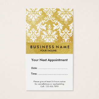 Faux Gold Foil Damask Appointment Business Card