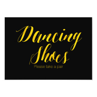 "Faux Gold Foil ""Dancing Shoes"" Chic Wedding Sign Card"