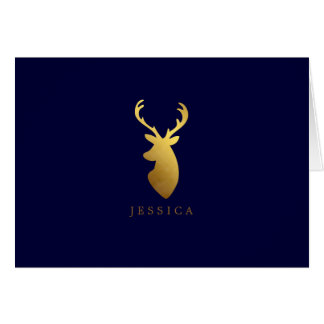 Faux Gold Foil Deer Head Card