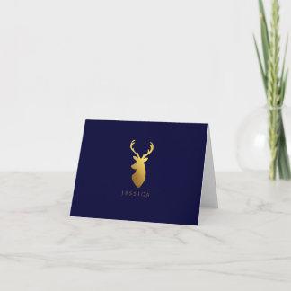 Faux Gold Foil Deer Head Note Card