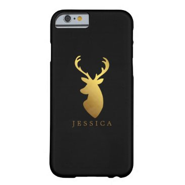 heartlocked Faux Gold Foil Deer Head Personalized Barely There iPhone 6 Case