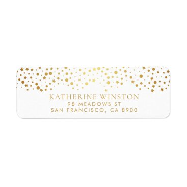 Wedding Themed Faux Gold Foil Dots and Stars Return Address Label