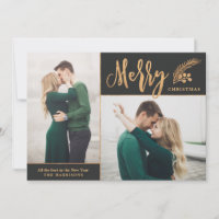 Faux Gold Foil Elegant Christmas Photo | Black Holiday Card