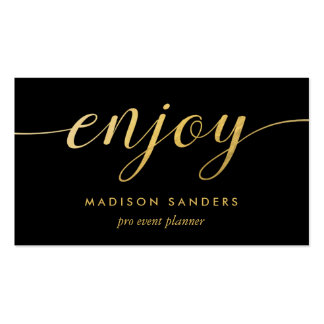 Faux Gold Foil Enjoy Typography Event Planner Business Card