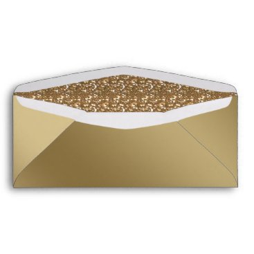 Christmas Themed Faux Gold Foil & Faux Glitter Gold Envelope