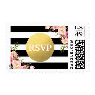 Faux Gold Foil Floral Black White Stripes RSVP Postage