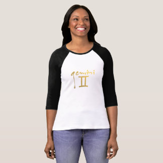 Faux Gold Foil Gemini Zodiac Symbol T-Shirt