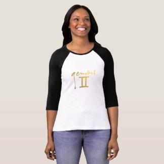 Faux Gold Foil Gemini Zodiac Symbol Tee Shirt