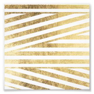 Faux gold foil geometric stripes pattern custom photo print