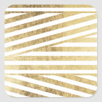 Faux gold foil geometric stripes pattern custom square sticker
