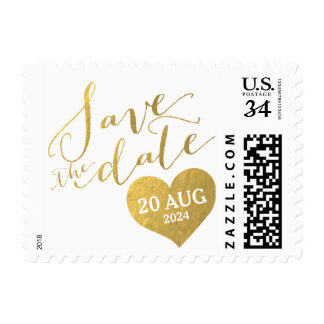 Faux Gold Foil Glam Date   Save the Date Postage