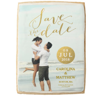 Faux Gold Foil Glamor | Photo Save the Date Jumbo Cookie