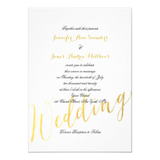 "Faux Gold Foil Glamor | Wedding Invitation 5"" X 7"" Invitation Card"