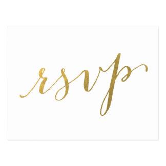 Faux Gold Foil Glamor | Wedding RSVP Postcard