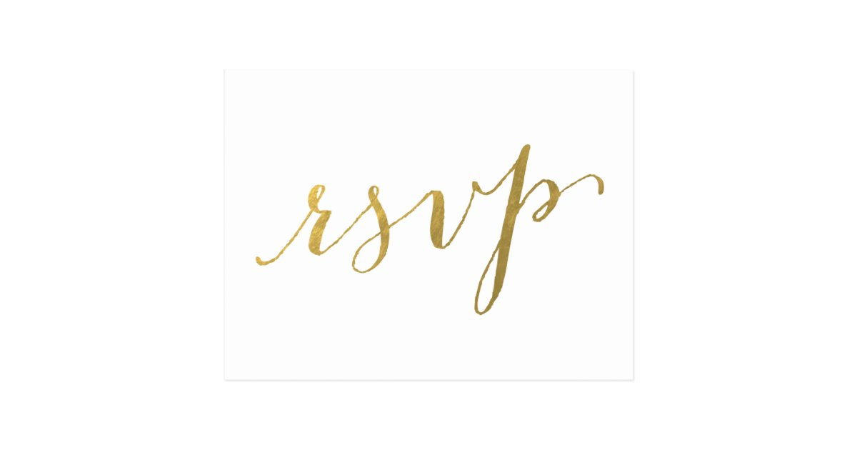 Faux Gold Foil Glamor | Wedding RSVP Postcard | Zazzle.com