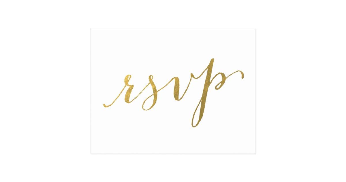 Faux Gold Foil Glamor Wedding Rsvp Postcard Zazzle Com