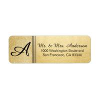 Faux Gold Foil Glitter Monogram Return Address Label