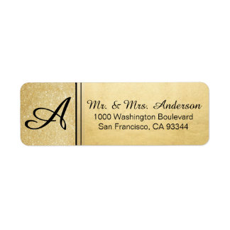 Faux Gold Foil Glitter Monogram Return Address Label
