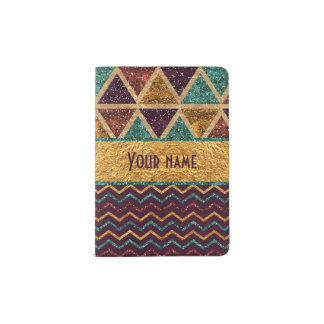 Faux Gold Foil Glitter Triangles and Chevrons Passport Holder