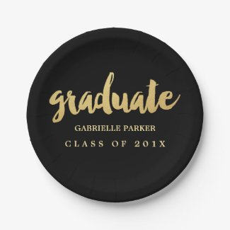 Faux Gold Foil Graduation Party Plates
