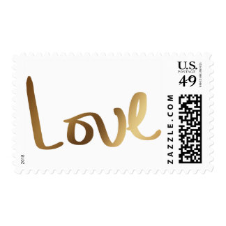 Faux Gold Foil Hand Lettered Love Typography Postage